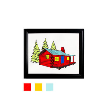Cabin in the Woods Red Yellow Blue Wall Hanging