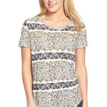 Women's Lucky Brand Floral Print Button Back Tee,