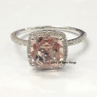 Cushion Morganite Engagement Ring Pave Diamond Wedding 14K White Gold 7mm