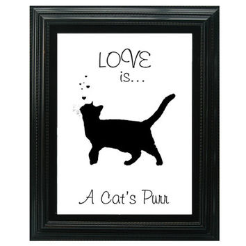 Love is... Cat lover's Art, Black Cat Wall Art Quote, Typography Print,  Friendship Gift, Free Shipping