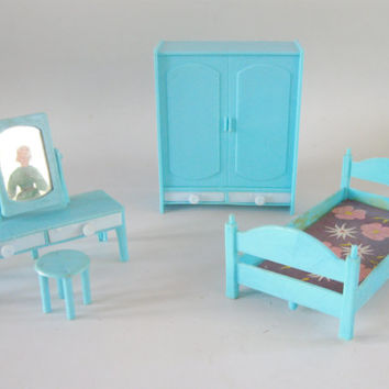 Miniature Dollhouse Furniture Blue Bedroom Bed Armoire mirrored Vanity with stool