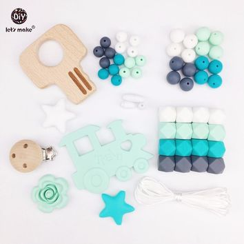 Let's Make Baby Silicone Teether Beads Pacifier Clips Wooden Key Teething Accessories DIY Jewelry Nursing Necklace Pendant