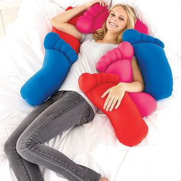 Novelty Giant Foot Microfiber Squishy Soft Body Pillow Neon Blue Pink Red