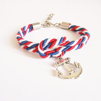 4th of July , Red White Blue cord nautical rope bracelet,  tie it knot , rope jewelry ,rope bracelet ,silver anchor, sailor knot