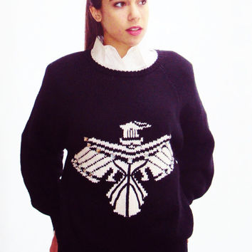 navy + white INTARSIA knit sweater FALCON nautical SAILOR chunky knit hand loomed  ( s, m, small, medium )