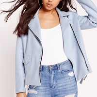 Missguided - Faux Suede Bonded Biker Jacket Blue