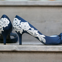 Wedding Shoes - Navy Blue Heels, Navy Heels, Navy Bridal Shoes with Ivory Lace. US Size 6
