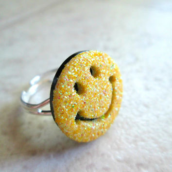 Smiley Face Ring, Sparkly Yellow, Adjustable, Symbol Jewelry
