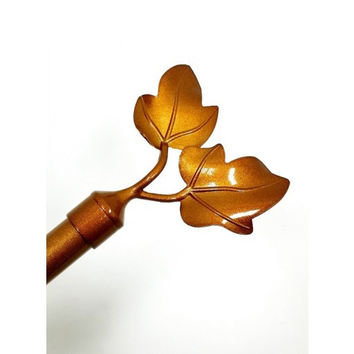 Adjustable Metal Curtain Rods With Dual Leaf Finial- Frida- Gold
