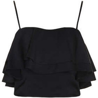 Frill Crepe Bralet - Tops  - Clothing