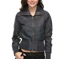Women Slim Motorcycle Biker PU Faux Leather Bomber Jacket Coat Outwear