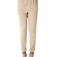 Beat It Pleated Beige Pants