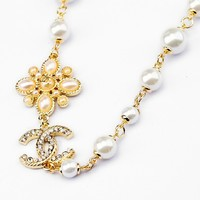 iOffer: 14K Ma'am girl Gold Flower Pearl Necklace for sale