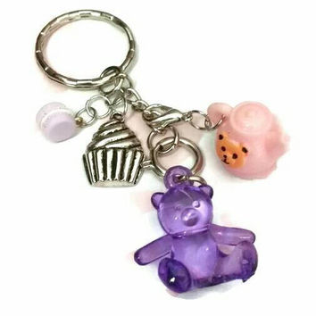 TEDDY BEARS PICNIC Keychain Purple Gummy Pink Teddie Bear  Tea Pot Lavender Macaron Cupcake Key Chain Key Ring Bag Charms Purse Planner Gift
