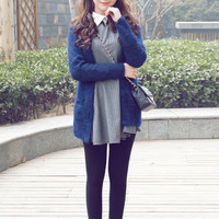Korean version of the simple long mohair knit cardigan jacket