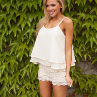 Lace Beauty Romper Shorts White