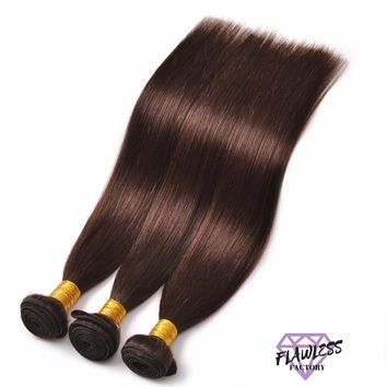 3 Bundles of Dark Brown Brazilian Straight Hair Extensions