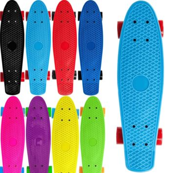 "22"" Complete Plastic Penny Style Street Classic Skateboard"