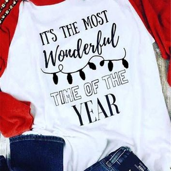 It's The Most Wonderful Time of The Year Women Long Sleeve T Shirt  Christmas Clothes Vintage Graphic Tshirt Raglan 3XL Tops