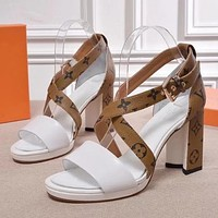 Louis Vuitton Women Fashion Casual Heels Shoes Sandals Shoes-4