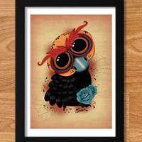 Owl in love Day of the Dead PRINT of original by Ganbatte