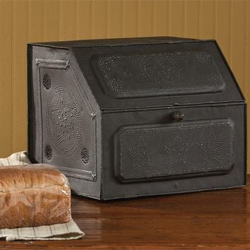 Vintage Inspired  Style Black Star Metal Bread Box Unique Country Decor