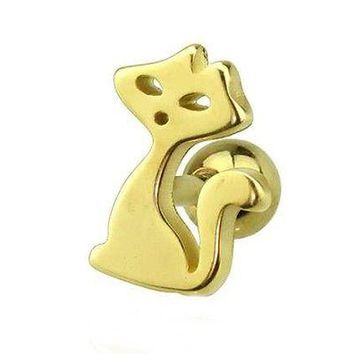"""Cartilage/Tragus Ear w/Kitty Cat 10mm 16 Gauge 1/4"""" Gold Plate Body Jewelry"""