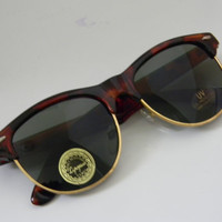 Vintage Deadstock CLUBMASTER Sunglasses TORTISE BROWN with gold trim