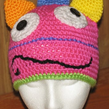 Bright Pink Monster Hat with Bright Colorful Trim