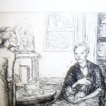 George Renouard Etching  Woman With Cat Resting at Her Feet Seated at Table