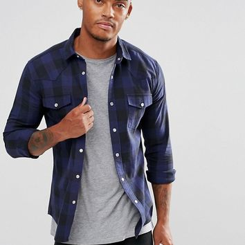ASOS Skinny Check With Western Styling In Blue at asos.com