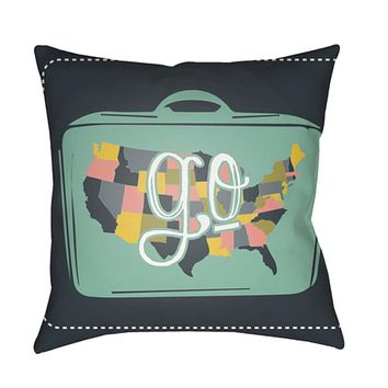 Jetset Pillow Cover - Dark Green, Mint, White, Bright Yellow, Pale Pink - JT014
