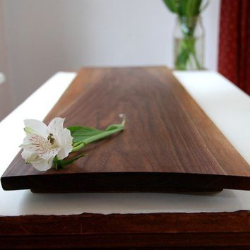 Wood Cutting Board Large Rustic Serving Tray by grayworksdesign