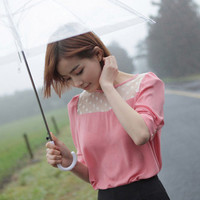 Polka Dot Chest Little Bubble Shoulder Chiffon Blouse