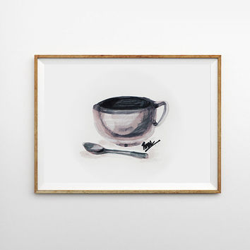 Coffee Art Coffee Love Mug Watercolor ceramic Tea cup Print of Original Painting Kitchen Wall Decor Cup Spoon Still life Fashion art poster