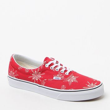 Vans Van Doren Era Skull Snowflake Shoes - Mens Shoes - White/Red