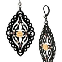 BetseyJohnson.com - FABULOUS FLOWERS OVAL DROP EARRING BLACK