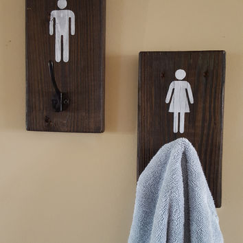 6x9 Reclaimed Wood His and Hers Hooks for Robes/Towels/Coats