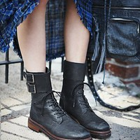 Free People Womens Brighton Ankle Boot - Black, 41 Euro