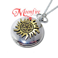 SUPERNATURAL Anti-Possession Symbol Pocket Watch Necklace