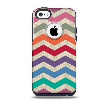 The Rainbow Chevron Over Digital Camouflage Skin for the iPhone 5c OtterBox Commuter Case