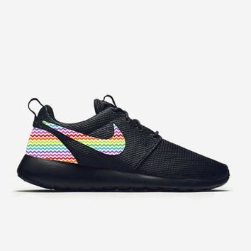 Custom Triple Black Nike Roshe Run Shoes Rainbow Chevron Fabric Pattern Men's Women's