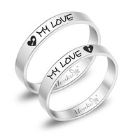 2 Rings-Free Engraving titanium promise rings,Wedding Bands Couple Rings, Lovers rings, his and hers promise ring sets, wedding rings