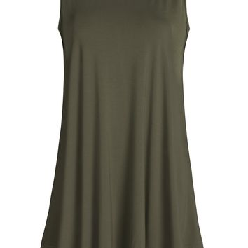 Esenchel Women's Flowing Tunic Tank Top Sleeveless Loose Shirt L Army Green