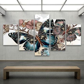 QK ART 5 Pieces Animal Painting Canvas Art Wall Pictures for Living Room Home Decor Butterfly and Flowers Illustration No Frame
