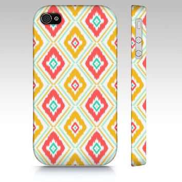 Iphone 5 case, iphone 4 case, ikat pattern, hipster, zigzag, geometric, trendy, diamond, coral, yellow white art for your phone