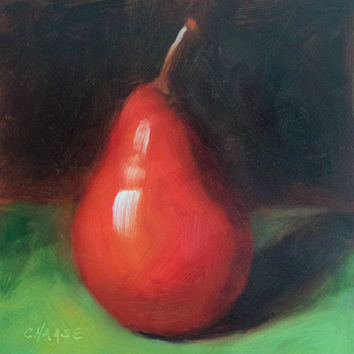 Red Pear 5 x 5 Original Daily Oil Painting by LittletonStudio