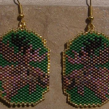 Hand Made Moose seed beaded brick stitch earrings