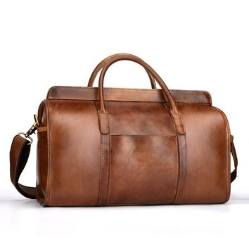 Luxury Vintage Leather Men's Travel Bags High Quality  Leather  Duffle bag Travel Bag Luggage