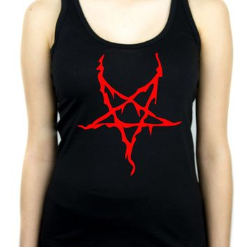 Red Thorn Jagged Inverted Pentagram Women's Racer Back Tank Top Shirt Occult Clothing